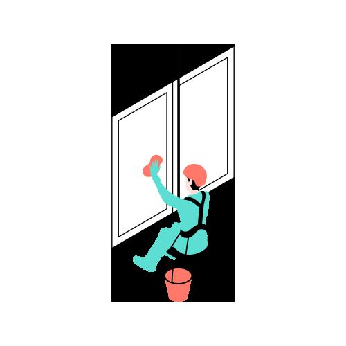 ilustración trabajador de fachadas