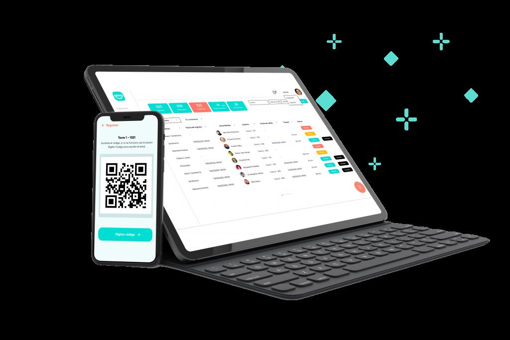 portatil y smartphone con software de servicios