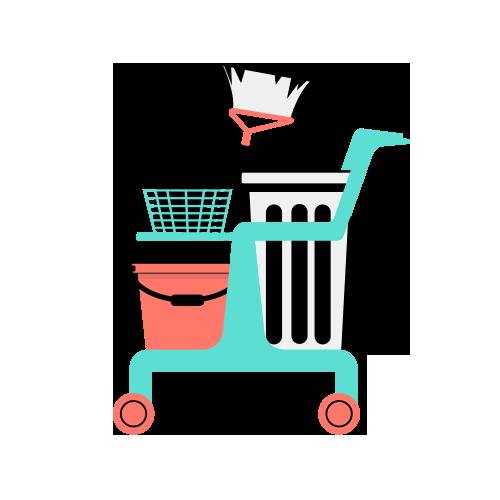 ilustracion carrito de limpieza